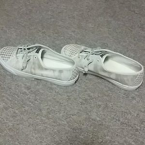 Sperry gold and white shoes